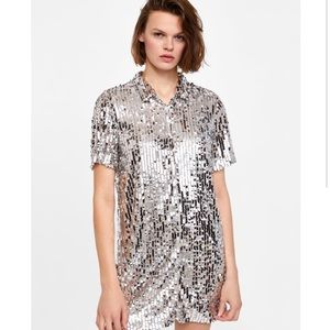 Zara Sequin Mini Shirt Dress